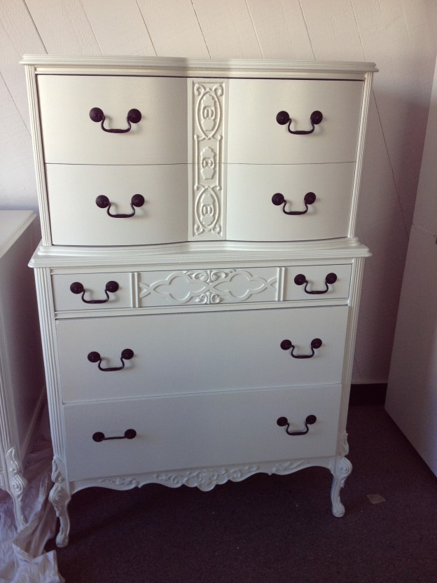 White Painted Tall Dresser